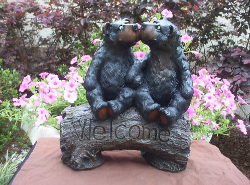 BEARS ON WELCOME LOG