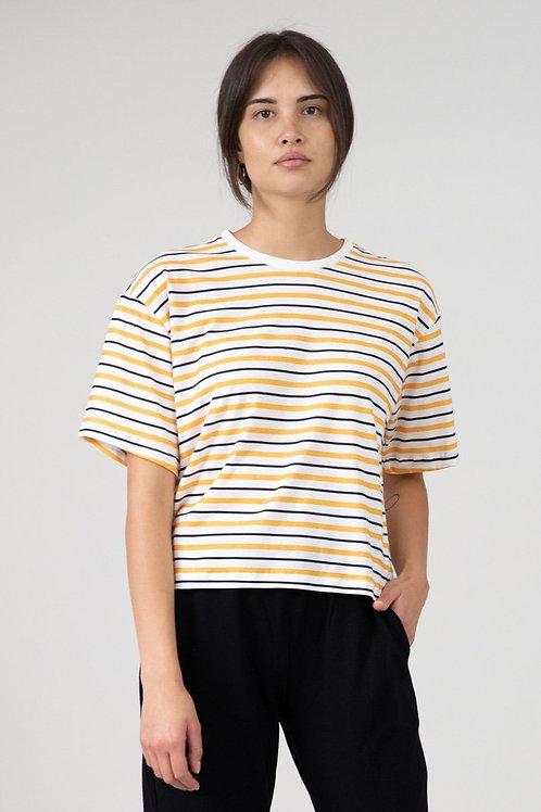 EYD - Cropped T-Shirt Vayana (Orange gestreift)