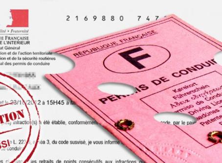 L'invladation du permis de conduire pour solde de points nul.