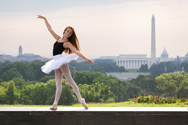 Lily dancing by Washington DC Monuments