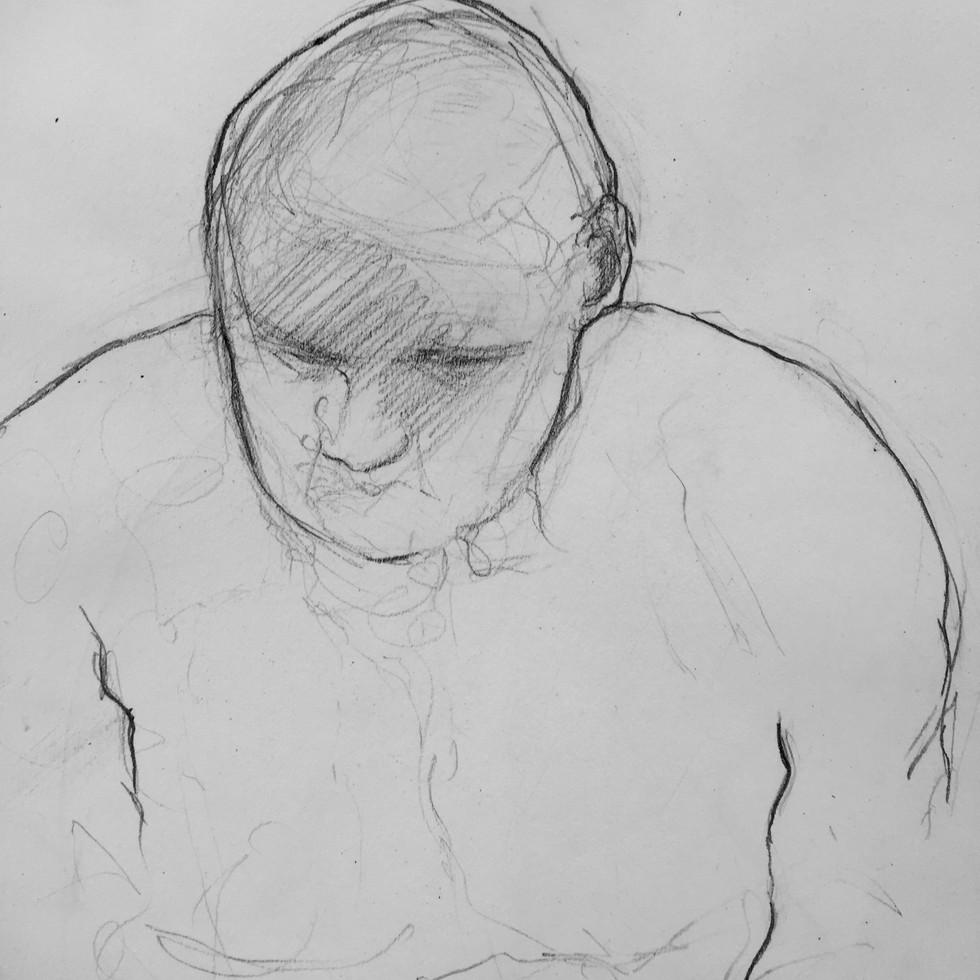 Homme crayon sur papier