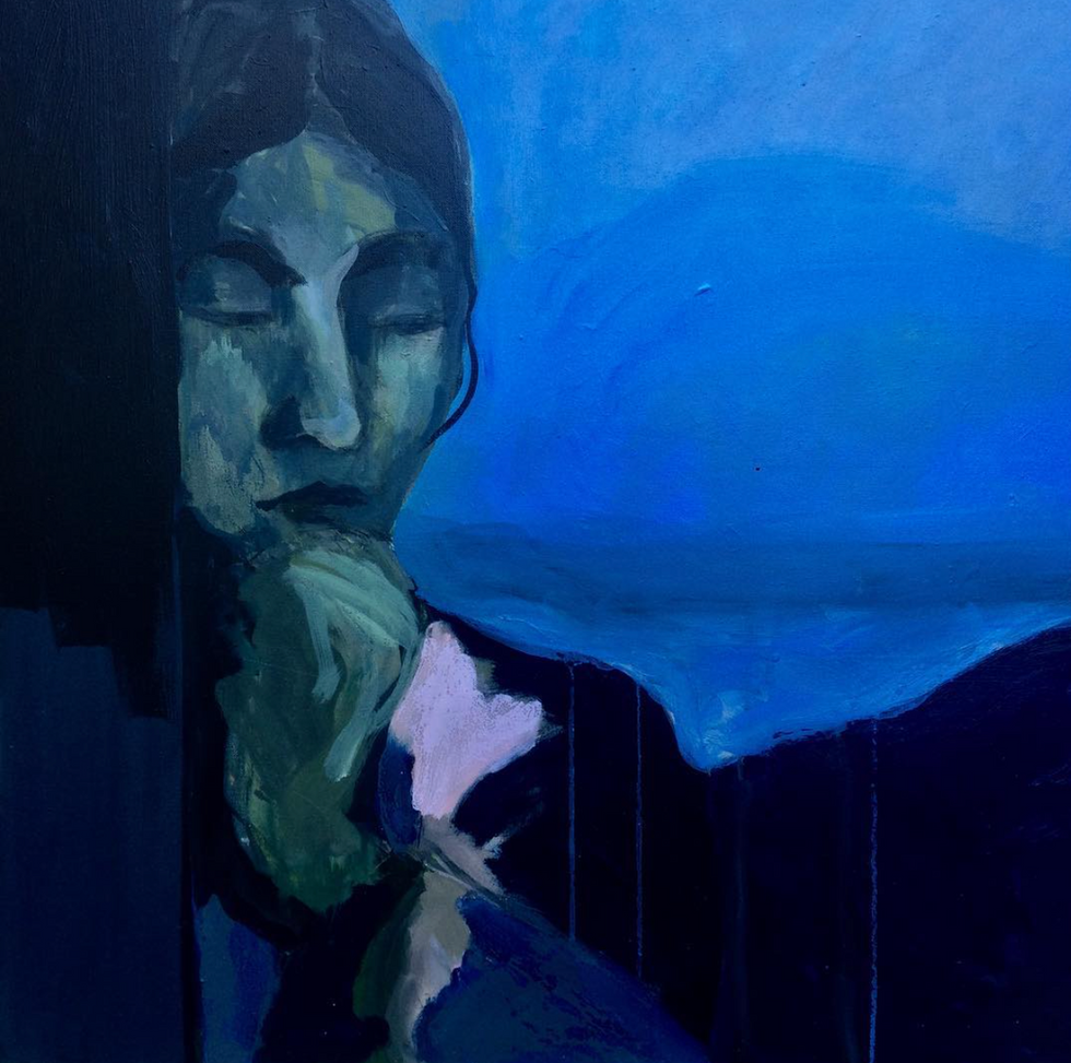 Femme sur fond bleu (2018)