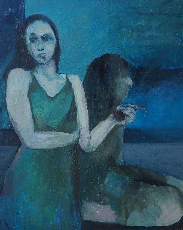 2 femmes- bleue 73-92,5 huile sur toile.