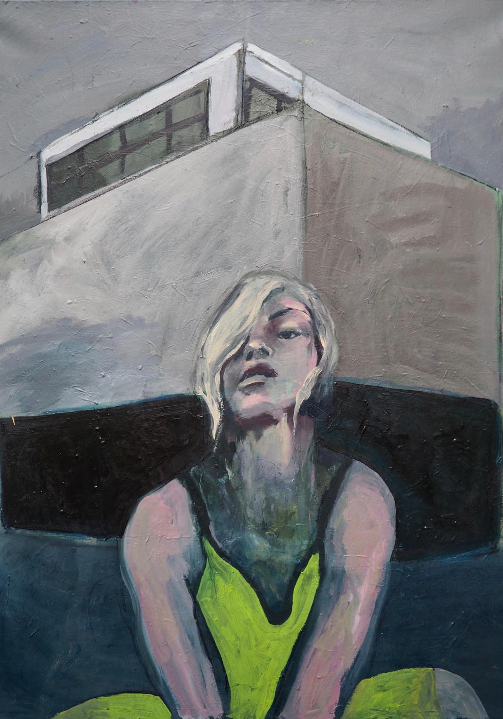 Femme et immeuble 89 _116,5 huile sur to