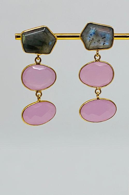 Rose Quartz Chalcedony and Labradorite