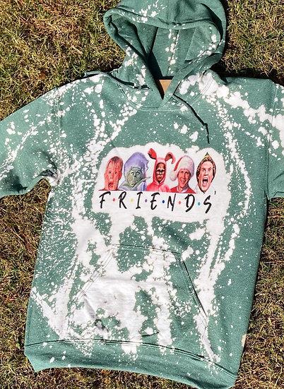 Christmas FRIENDS Bleach Dye Hoodie