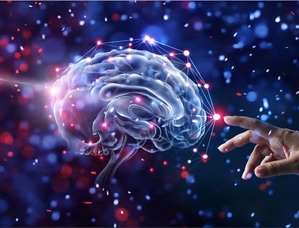 Hand touching brain and network connect
