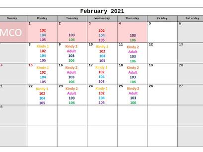 BAMBIS英語教室・2月'21レッスンカレンダー
