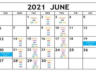 6月度・バンビス英語教室のスケジュール