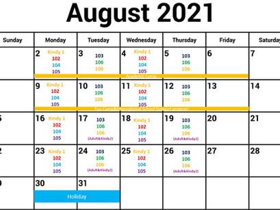 Bambis英語教室 8月'21のレッスン日程