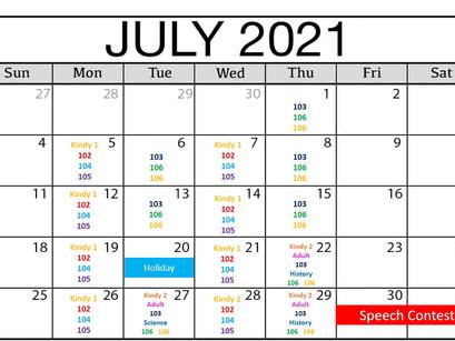 Bambis英語教室 7月'21のレッスン日程