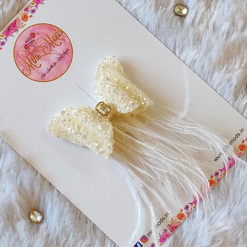 Feather Bow - White