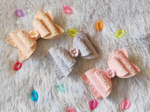 Pastel Lace Bows Headband Combo