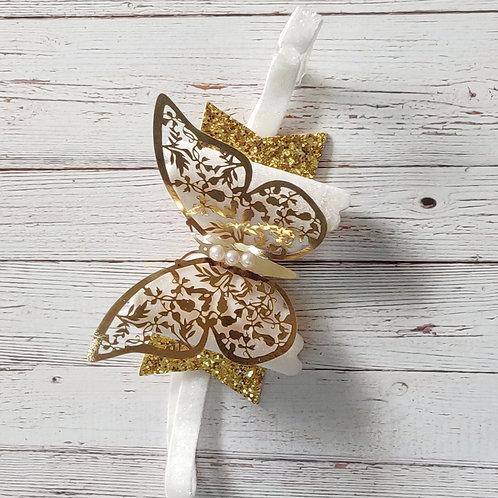 Bright Gold Butterfly Bow Headband