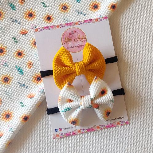Sunflower Sweetheart Bow Headband Set