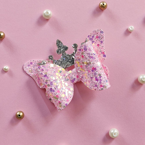 Princess Crown Bow - Baby Pink