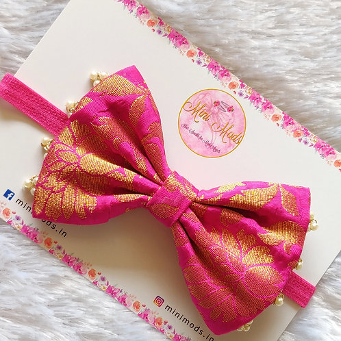 Banarasiya Bow Headband - Hot Pink