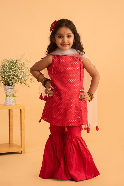 Zahra Kurta Set in Cherry Pink