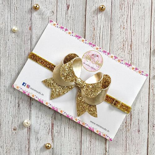 Treasure Bow Headband -Golden