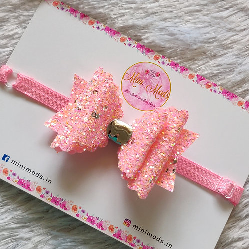 Sequence Glitter Bow (Peachy Pink)