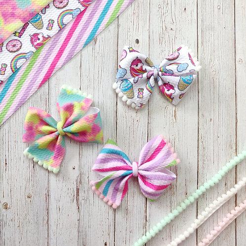 Retro Unicorn Pinwheel Bow Set