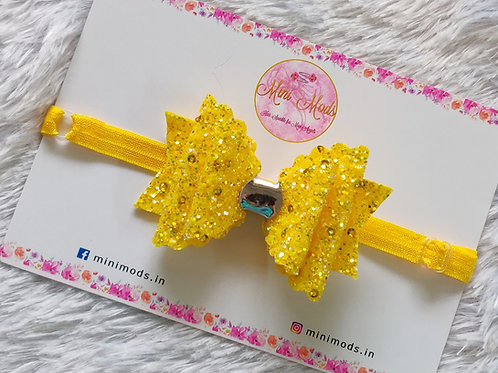 Sequence Glitter Bow -Yellow