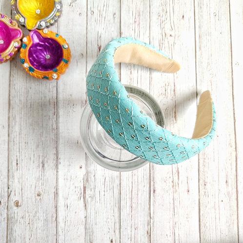 Zahra Padded Hairband in Sea Blue