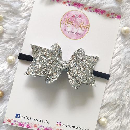 Princess Sparkle Bow Clip -Silver