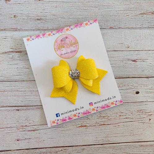 Princess Sparkle Bow Clip - Yellow