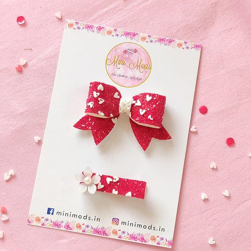 Heart Glitter Bow