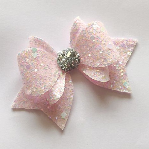Princess Sparkle Bow Clip - Baby Pink