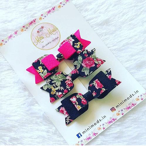 Black & Pink Floral Bow Set