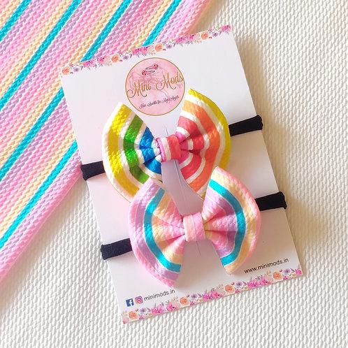 Rainbow Sweetheart Bow Headband Set