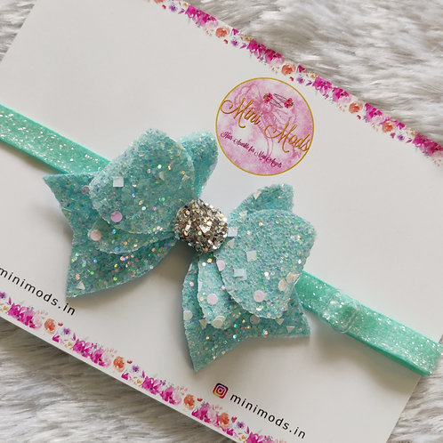 Princess Sparkle Bow  - Aqua