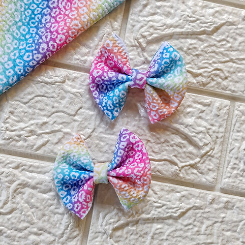 Rainbow Leopard Pigtail Bow Set