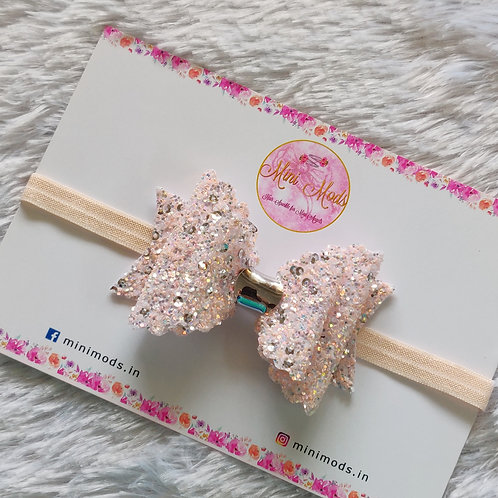 Sequence Glitter Bow - Peach