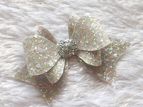 Princess Sparkle Bow Clip - Grey