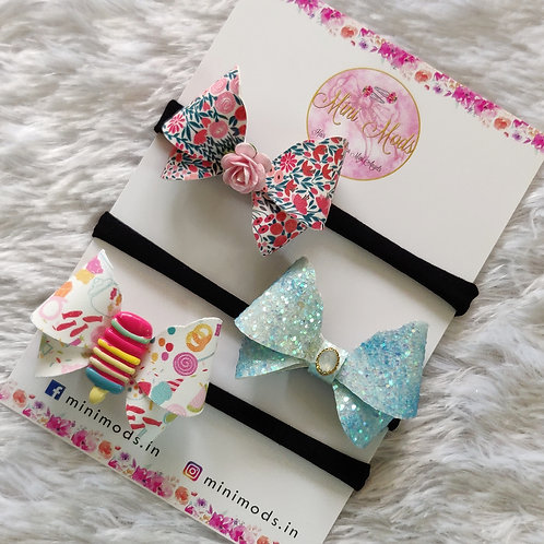 Candy Butterfly Bow Headband Combo