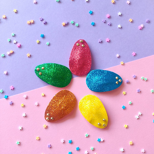 Glitter Snap Clip Set - Bright Rainbow