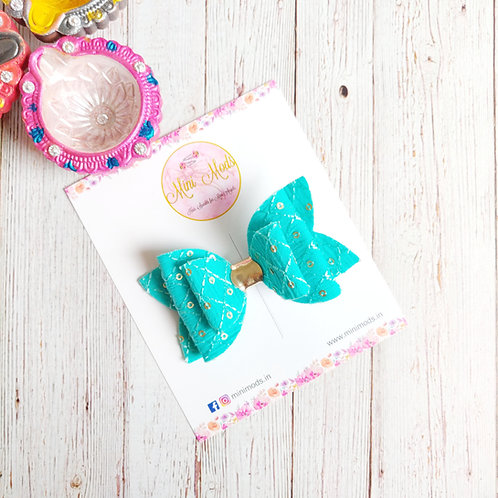 Zahra Sequins Bow in Sea Blue