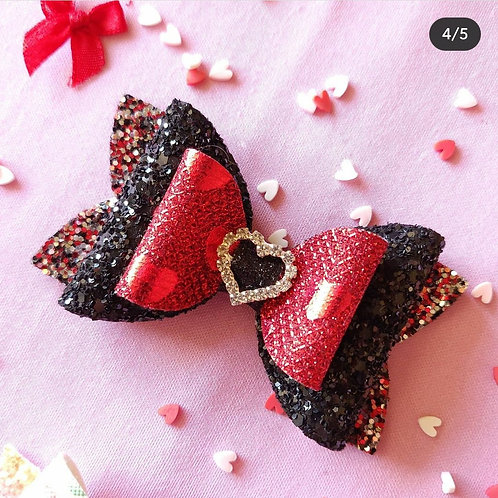 Black & Red Glitter Bow