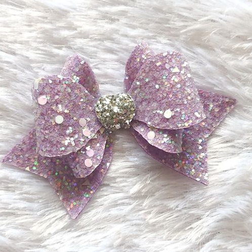 """Princess Sparkle Bow Clip - Lavender""""A gorgeous glitter bow is perfect for speci"""