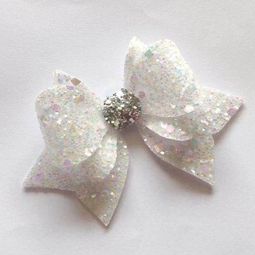 Princess Sparkle Bow Clip - White