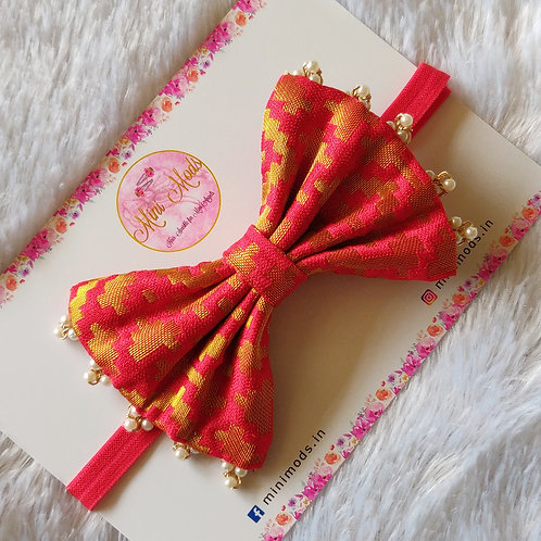 Banarasiya Bow Headband - Red