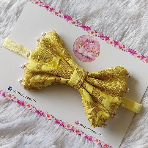 Banarasiya Bow Headband - Pastel Yellow