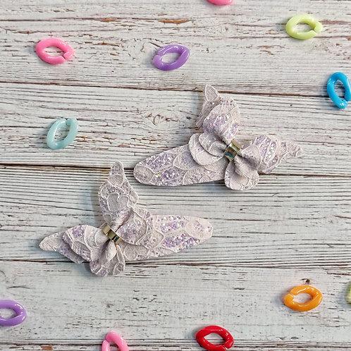 Lace Butterfly Snap Clip Set - Lavender