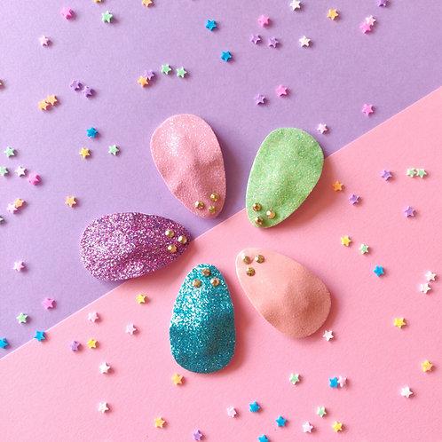 Glitter Snap Clip Set - Pastel Rainbow