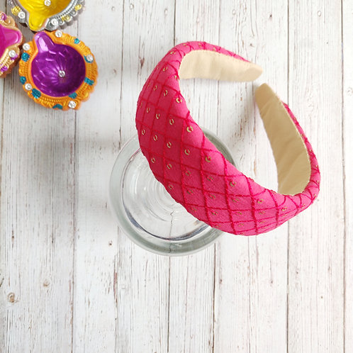 Zahra Padded Hairband in Cherry Pink