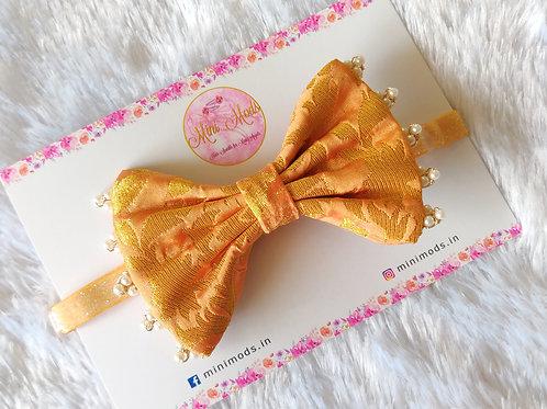 Banarasiya Bow Headband -Peach