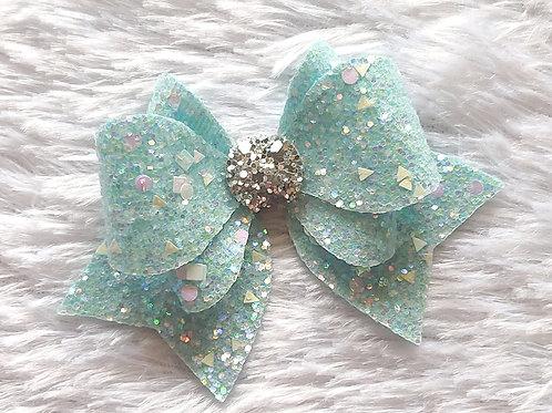 Princess Sparkle Bow Clip - Aqua